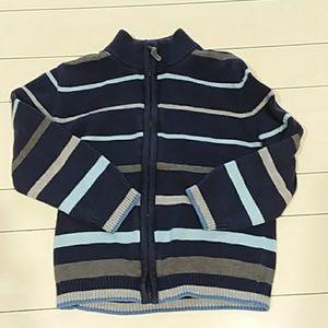 Cherokee 5T sweater zip up blue stripe knit